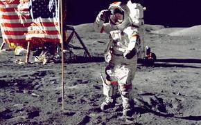 Обои флаг, поверхность, Луна, на Луне, астронавт, NASA, космос, высадка, американцы, foto, снимок