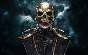 Картинка темный фон, череп, скелет, скорпион, scorpion, mortal kombat, без маски