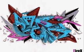 Картинка осколки, буквы, граффити, mem, FireX, тег