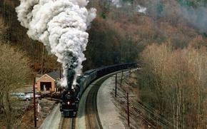 Обои осень, горы, дым, поезд
