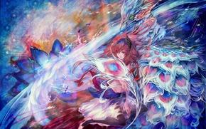Картинка белый, цветок, линии, птицы, оранжевый, синий, абстракция, блики, розовый, голубой, птица, Девушка, плата, аниме, перья, …