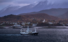 Картинка storm, sea, ocean, mountains, clouds, village, ship, bay, harbor, fishing, peaks, fishing vessel