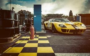 Картинка Ford, Car, Race, Yellow, 1966, GT40