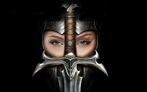 Картинка девушка, меч, шлем, Культ: Королевства Ереси
