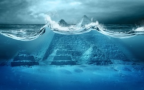 Обои океан, катастрофа, Апокалипсис, пирамиды, storm, sea, ocean, Egypt, fantastic, tsunami, wave, pyramid, Apocalypse, Armageddon