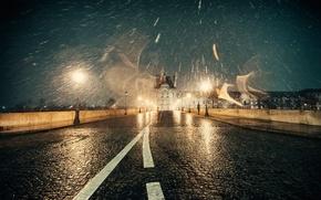 Картинка зима, свет, мост, город, блики, Франция, Париж, Январь, мокрый снег