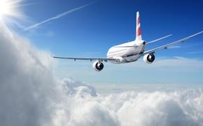Картинка солнце, облака, полет, самолет, высота, в небе, пассажирский