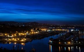 Картинка ночь, огни, река, дома, Калифорния, Orange, США