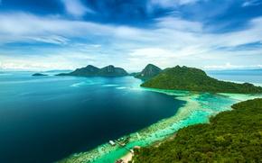 Обои море, горы, тропики, побережье, остров, Малайзия, Bohey Dulang Island