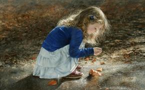 Картинка листья, девочка, ребёнок
