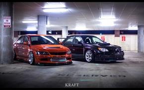 Обои Low, Evo, STI, Orange, Black, Style, Stance