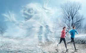 Обои мороз, рожа, бегуны, fred perrot, зима