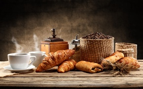 Картинка кофе, хлеб, чашки, сахар, блюдце, дымок, корзины, кофемолка