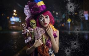 Картинка взгляд, девушка, настроение, куклы, шляпа, азиатка, цилиндр, клоунесса
