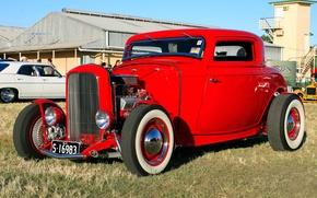 Картинка красный, купе, Ford, Форд, выставка, Hot, coupe, 1932, род, at the Twilight, Show, Rod, хот