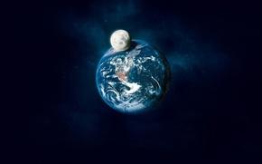 Обои земля, луна, тень