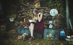 Картинка девушка, поза, книга