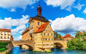 Картинка мост, Германия, Бавария, Germany, Bamberg, ратуша, Bavaria, City Hall, река Регниц, Бамберг, Regnitz river