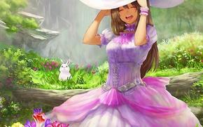 Картинка лес, лето, парк, настроение, аниме, арт, девочка, шляпка, зайчик