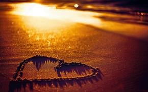 Картинка песок, пляж, love, beach, сердечко, heart, sunset, sand