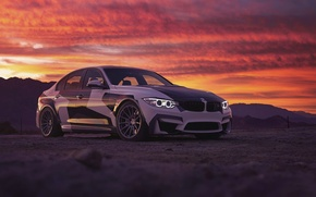 Картинка BMW, Light, Clouds, Sky, Front, Black, Sunset, White, And