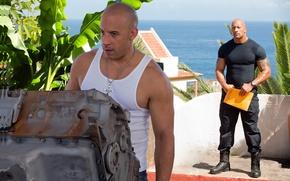 Обои море, цветы, фильм, Вин Дизель, Дуэйн Джонсон, Vin Diesel, Dwayne Johnson, коп, Dominic Toretto, Форсаж ...