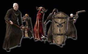 Картинка skull, logo, game, weapon, man, army, bow, shield, Biohazard, Resident Evil 4, arrow, Residen Evil, ...