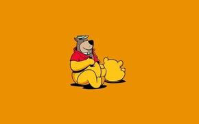 Обои Медведь, Юмор, Минимализм, Винни Пух, Арт