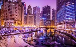 Картинка зима, огни, река, здания, лёд, небоскребы, вечер, Чикаго, USA, Chicago, illinois