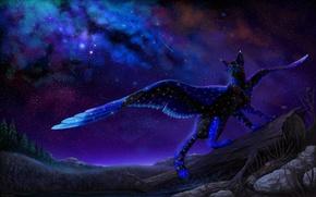 Картинка небо, ночь, природа, фэнтези, крылатая кошка, by Cat-Patrisiya
