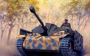 Картинка дорога, рисунок, арт, установка, командир, WW2, самоходно-артиллерийская, немецкая, броней, ШтугIII, экранной