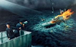 Картинка огонь, пламя, дым, рисунок, арт, матрос, Чили, офицер, WW1, сражение у порта Коронель, бронепалубного крейсера …