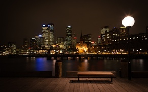 Картинка water, night, cities, cityscapes