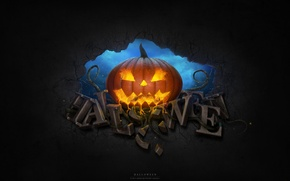 Картинка тыква, хэллоуин, стена, halloween, небо, надпись