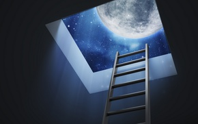 Обои moon, Dreams, stairs, roof