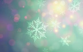Картинка мягкие цвета, снежинки, пятна