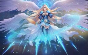 Картинка лед, девушка, рисунок, крылья, ангел, фэнтези, арт, girl, ice, fantasy, нимб, art, wings, halo, angel, ...