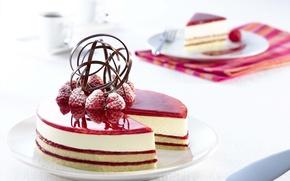 Обои торт, cream, food, cake, десерт, dessert, сладкое, raspberries, cheesecake, малина, крем, пирожное, coffe, еда