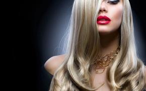 Картинка девушка, украшения, стиль, модель, макияж, блондинка, золотой, Анна Субботина