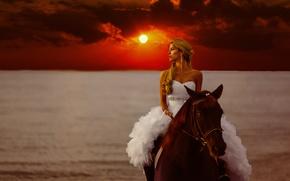 Картинка море, девушка, закат, стиль, настроение, конь, лошадь, платье