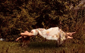 Обои floating, girl, dress, backyard, levitating