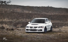 Картинка turbo, white, wheels, mitsubishi, japan, jdm, tuning, lancer, evolution, evo, front, face, low, stance