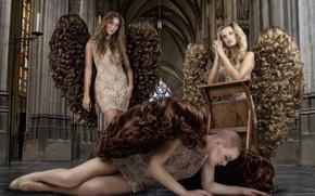 Картинка девушки, волосы, крылья, Angels