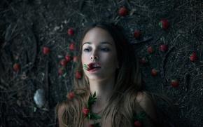 Картинка девушка, ягоды, фон, земля, клубника