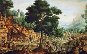 Картинка люди, картина, деревня, жанровая, Hans Bol, Life in a Flemish Village