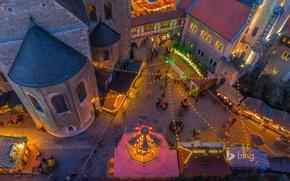 Картинка огни, дома, Германия, площадь, Рождество, ярмарка, Брауншвейг