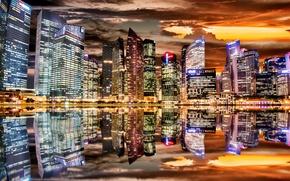 Обои цвет, ночь, город