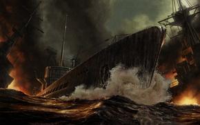 Картинка море, огонь, дым, корабли, сражение