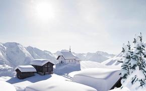 Обои снег, горы, Альпы, поселок