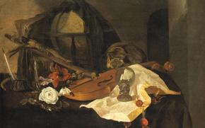 Картинка цветок, скрипка, распятие, Jacques de Claeuw, Натюрморт. Аллегория Тщеславия